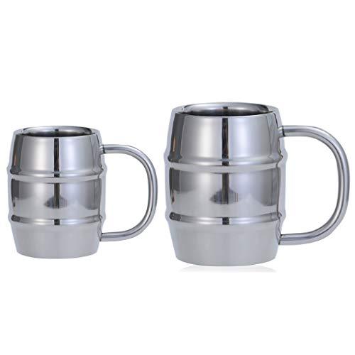 Taza de cerveza de madera con mango de acero inoxidable para zumo de té (color: plata1+plata2)