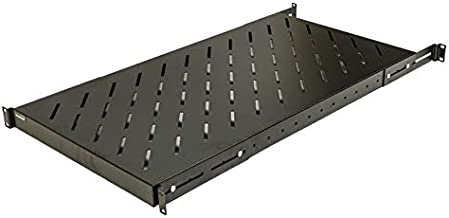 NavePoint 1U 19-Inch Fixed 4-Post Rack Mount Server Shelf with Adjustable Depth from 18-42 Inch Set of 2 Black