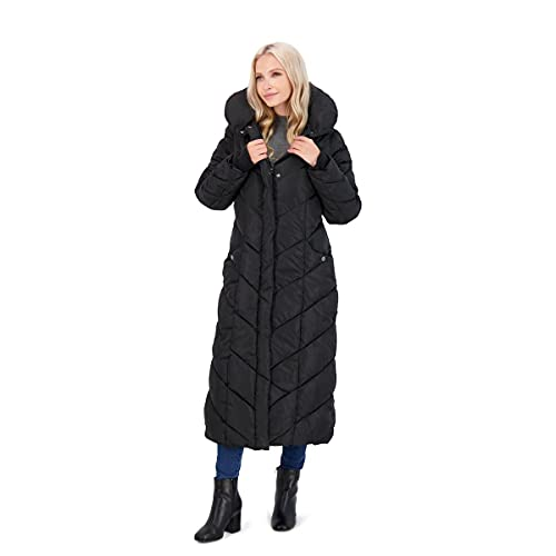 Steve Madden Women's Long Chevron Maxi Puffer Coat, Black, Large