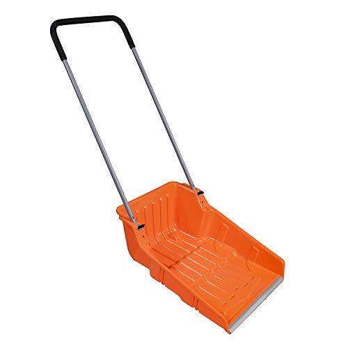 """Ivation Snow Pusher Scoop, Shovel with Wheels for Driveway, Sidewalk, 25"""" Extra Large Capacity, Adjustable Heights & Easy Setup"""