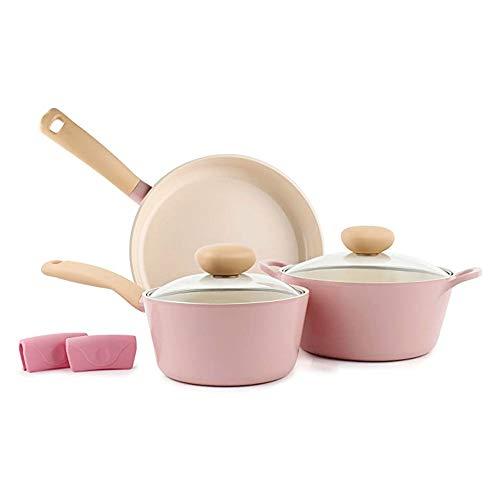 Neoflam Retro-Kochgeschirr-Set, Keramik, antihaftbeschichtet, PFOA-freie Töpfe und Pfannen mit integriertem Dampföffnungsdeckel, verhindert Überkochen für sicheres Kochen, Pink, 5-teilig
