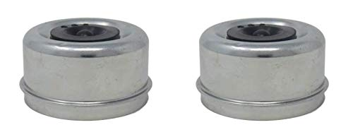 M-Parts Pair of 2.72  X 1.50  X 1.18  Galvanized Steel Dust Caps with E-Z Lube Rubber Plugs; for 7,000 8,000 Lbs (7K 8K) Trailer Axle Wheel Hubs, Wheel Bearing Protection; DC275L-DCRP (2 Included)