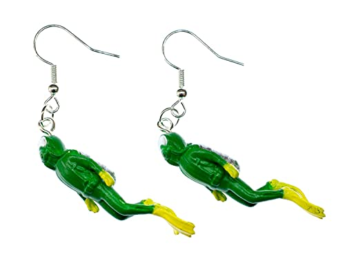 Miniblings Taucher Ohrringe - Handmade Modeschmuck I Taucheranzug Tauchen Sport grün 40mm - Ohrhänger Ohrschmuck versilbert