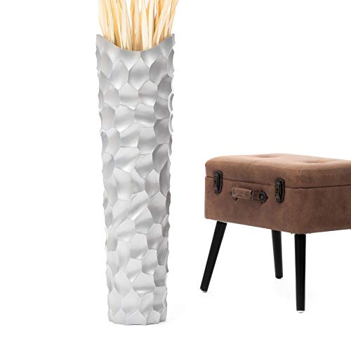 Leewadee Große Bodenvase für Dekozweige hohe Standvase Design Holzvase 90 cm, Mangoholz, Silber