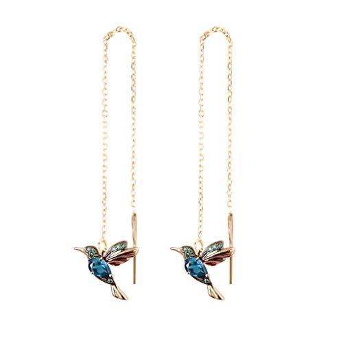Damen Elegante Kolibri-Strass-Ohrstecker, blauer Zirkon Glücks-Ohrringe, Modeschmuck, Ohrhänger, langer Anhänger, baumelnder Schmuck für Frauen (blau)