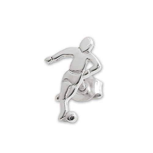 CLEVER SCHMUCK Silberner Ohrring als Single Ohrstecker Fussballer 11 x 7 mm glänzend Sterling Silber 925