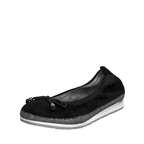 Fitters Footwear That Fits Damen Ballerina Celine Microfibre Komfort Ballerina mit Schleife Stretch Bund Übergröße (45 EU, schwarz)
