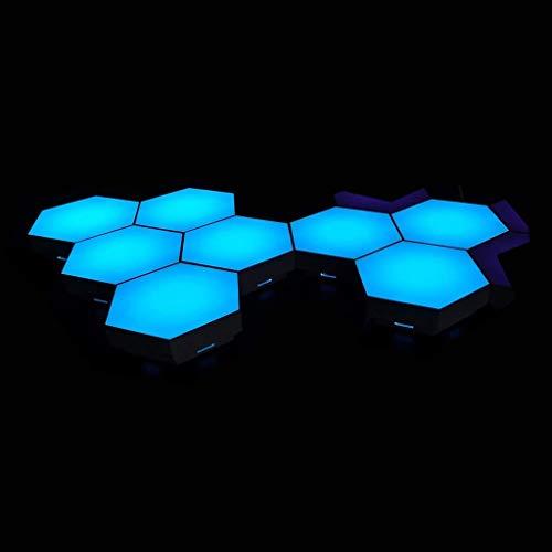 QFFL Intelligente Lichtpaneele Hexagon Modular Touch Sensitive Lights LED Panel RGB Farbe Wandleuchte Licht Moderne Intelligente Wandlampendekoration für Schlafzimmer Zu Hause (6er Pack) Scheinwerfer