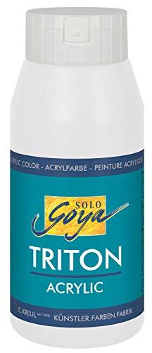 Kreul 17017 - Solo Goya Triton Acrylfarbe, schnell und matt trocknend, 750 ml Flasche, weiß , Farbe auf Wasserbasis, in Studioqualität, vielseitig einsetzbar, gut deckend und ergiebig