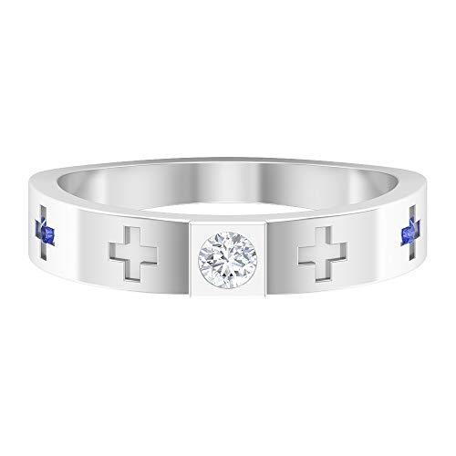 Anillo de tanzanita creado en laboratorio de 1,4 mm, anillo de diamante HI-SI, anillo de compromiso de oro (calidad AAAA), 14K Oro blanco, tanzanita creada en laboratorio, Size:EU 46