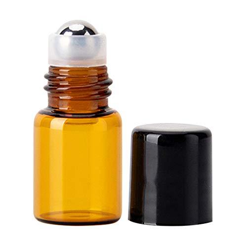 Buwei Mini Botella de Bola rodante de Vidrio vacía, contenedor de líquido de Perfume de Aceite Esencial, Herramienta de Viaje Recargable