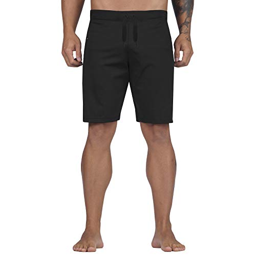 Elite Sports Shorts for Men Best Workout Training High Waisted Board Adult Shorts (Black, Medium)