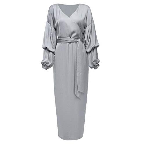 Lazzboy Durchbrochene Stickerei Kleid Abaya Cardigan Muslimischen Dubai Muslimische Knöchellang Tunika Abendkleid Gewand Damen Hochzeit Kaftan Muslim Islamische Caftan Kleidung(Beige,S)