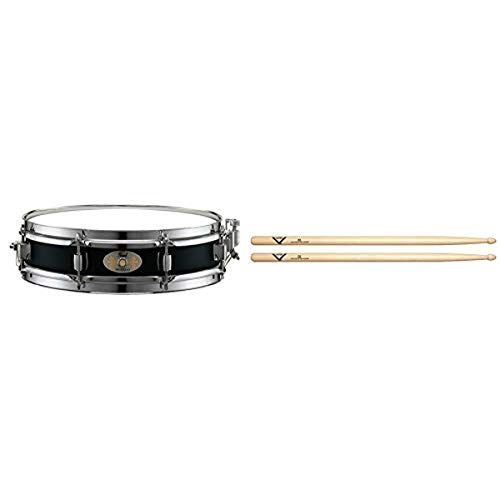 Pearl S1330B 13 x 3 Inches Black Steel Piccolo Snare Drum with Vater 5B Wood Tip Hickory Drum Sticks, Pair