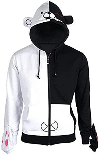 YBINGA Disfraz de cosplay con capucha y oso blanco y negro cosido traje anime cremallera chaqueta de manga larga con guantes para accesorios de cosplay para adultos (color: negro + blanco, tamaño: M)