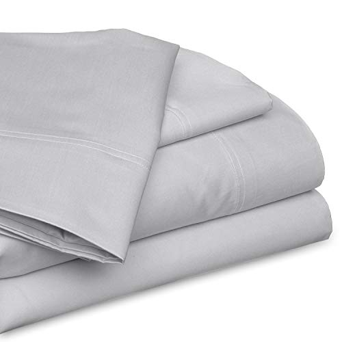 SGI bedding King Size Sheet Set - 100% Cotton Luxury Soft Cotton Bed Sheets 1000 Thread Count Light Grey Solid