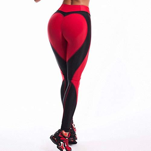 MAOYYMYJK Leggings a Forma di Cuore Pantaloni da Donna a Vita Alta di Colore Nero Rosso Leggings Stampati Patchwork Leggings di Fitness Elastici di Grandi Dimensioni