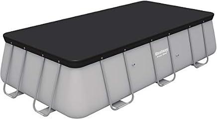 bestway- Flowclear PVC-Abdeckplane 396x185 cm, Grau, für Power Steel Pools 404x201x100 cm und 412x201x122 cm Telo di Copertura per Piscina, Colore, 58232