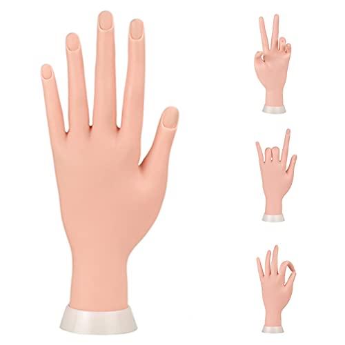 Maniküre-Übungshänder und Finger, Nagelhandübungsmodell, flexibel, beweglich, weicher Kunststoff, Hand für künstliche Nagelkunst-Anfänger (braun)