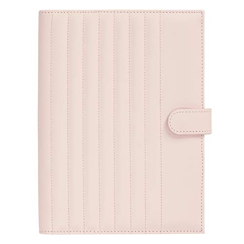 """kikki.K Self Designer Collection - A5 Quilted Notebook Holder Blush, Vegan Friendly, Includes an Elastic Pen Loop and a Hidden Snap Enclosure, Measures 8.66""""L x 6.50""""W x 1.18""""H"""