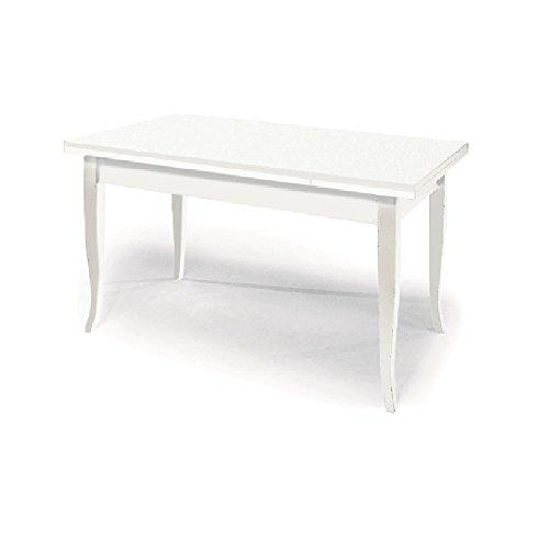 Table Extensible comportant 2 rallonges DE 40 cm, Style Classique, en Bois Massif et MDF avec Finition Blanc Mat - Dim. 120 x 80