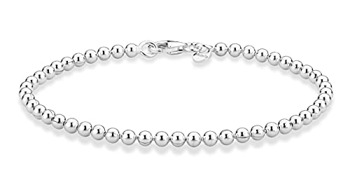 MiaBella 925 Sterling Silver Italian Handmade 3mm Bead Ball Strand Chain Bracelet for Women 6.5, 7, 7.5, 8 Inch Made in Italy (6.5 Inch)