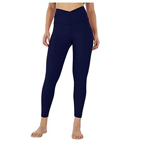 Btruely Leggins Reductores Deportivos Mujer,Tiro Alto Pantalon Entrenamiento Mallas Yoga Mujer Running,Elasticos Fitness Vientre Plano,Cintura Cruzada De Las Ropa Pilates Mujer (Armada, L)