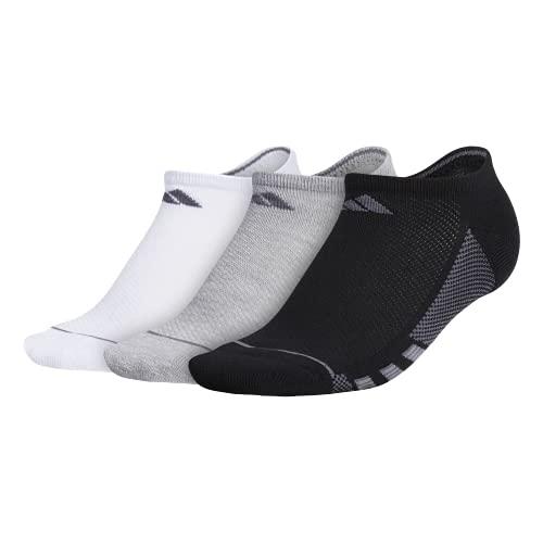 adidas Women's Sock (3-Pack), Calzini da Donna Superlite Stripe II No Show (Confezione da 3), Nero/Grigio Erica Chiaro/Bianco/Grigio/Onix/Trasparente Gre, Medium, (Shoe Size 5-10)
