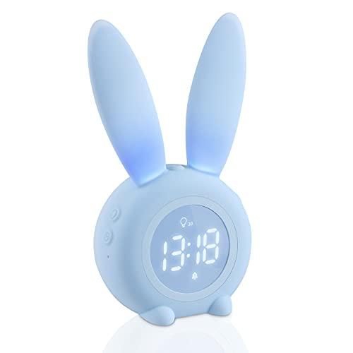 yotame Kinder Lichtwecker Cute Rabbit, Wecker Kinder Digital Kinderwecker Snooze-Funktion, zeitgesteuertes Nachtlicht, Wake Up Kinderwecker für Mädchen Jungen