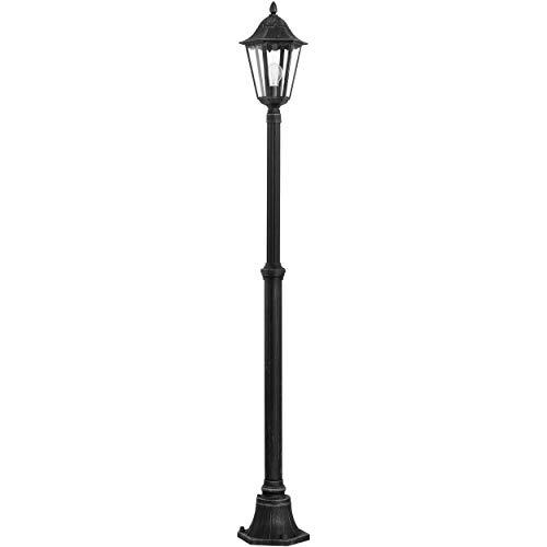 EGLO Außen-Stehlampe Navedo, 1 flammige Außenleuchte, Stehleuchte aus Aluguss und Glas, Farbe: Schwarz, silber-patina, Fassung: E27, H: 200 cm, IP44