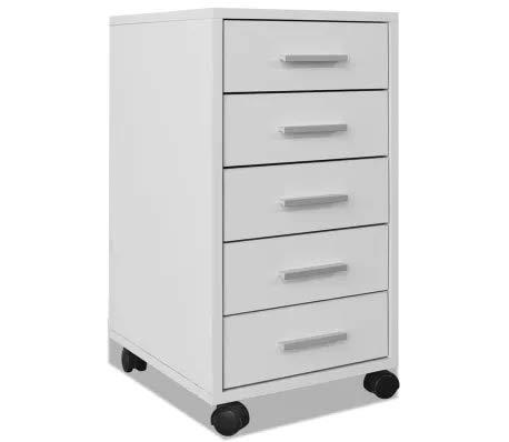 GOTOTOP - Cajonera de oficina con ruedas y 5 cajones blancos, mesita de noche de madera para oficina, 33 x 38 x 63 cm