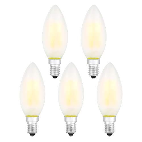 E14 LED Lampen Dimmbare Glühbirnen Warmweiß 2700K Energiesparlampe Retro Glühbirne 360 ° Grad Strahlwinkel 4W Birne , 40W Glühlamp Enäquivalent Energieklasse A + (Matt Kerze LED Lampe-5er Pack)