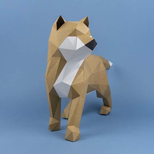 Shiba INU Rojo Papercraft kit,Yona DIY Kit de origami 3D para montar a mano, 3D Puzzle para la decoración de hogar,Trofeo de papel, Regalo de papel,Bricolaje en papel, Rompecabezas 3D, No.4