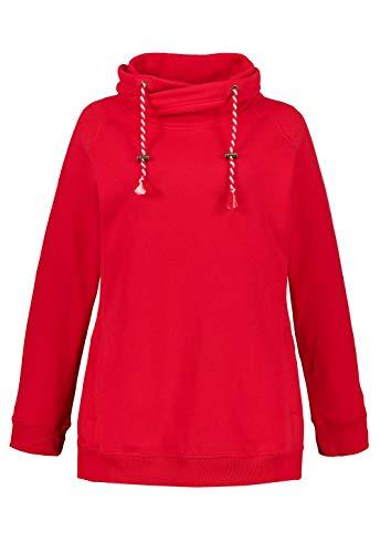Ulla Popken Damen große Größen Bis 64, Sweatshirt mit Stehkragen, Pullover, Raglanform, Rippbündchen, Lange Ärmel, neon rot 50+ 713963 51-50+