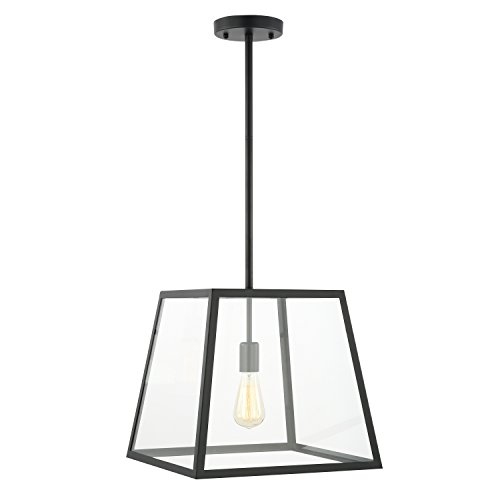 Light Society LS-C103 Preston Pendant Lamp, Shade Glass Panels, Modern Industrial Lighting Fixture, Matte Black/Clear