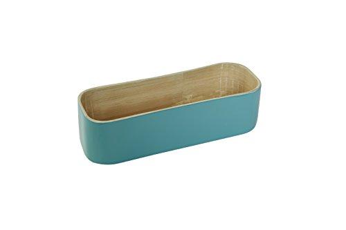 Compactor Home Boîte de Rangement 6 cm en Bambou pour Couverts Turquoise