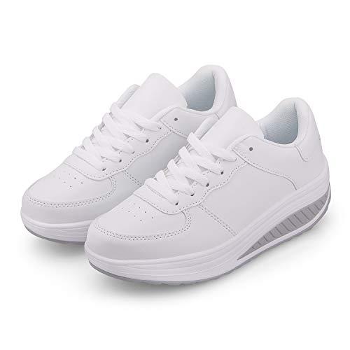 Zapatillas Casual para Mujer Zapatillas de Deporte Gimnasio Zapatos Cuña Cómodos Sneakers para Trotar Compras Blanco 37