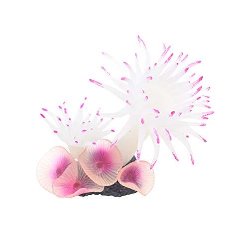 Gertok Plantas de Acuario Plantas Naturales para Acuarios Peces de Acuario Decoración Plantas de plástico para peceras Acuario decoración Ornamento White,9cm