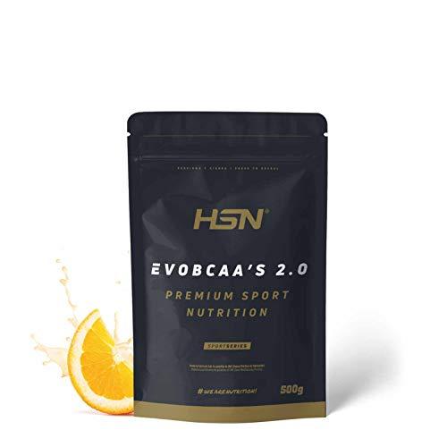 BCAA con Glutamina de HSN Evobcaa's 2.0 | Aminoácidos Ramificados Ratio 12:1:1 (L-Leucina + L-Valina + L-Isoleucina) | Recuperación y Ganar Masa Muscular | Vegano, Sin Lactosa, Sabor Naranja, 500g