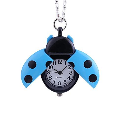 JTWMY Nette Marienkäfer-Taschenuhr-Anhänger-Halsketten-Geschenke für Kinder-B
