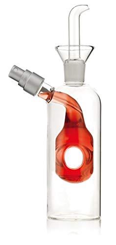 JUALIEN Aceitera vinagrera de Cristal antigoteo con pitorro y Spray. 300ml (Aceite); 125ml (vinagre). (Aro)