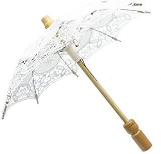 Pomeat 6 Inches Mini Vintage Wood Embroidery Pure Cotton Lace Umbrella Wedding Umbrella So Small for Wedding Gift Photo Props Kids Gift