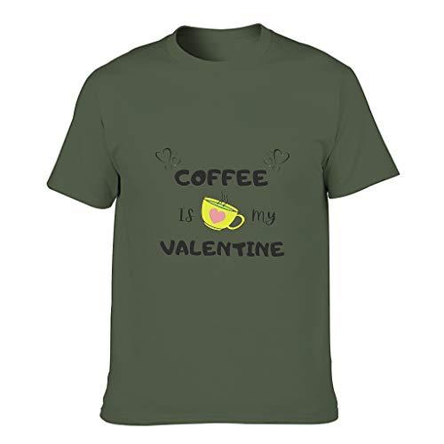 Camiseta de algodón para hombre con texto en alemán 'Kaffee ist Mein San Valentín', divertida, elegante y cómoda, temática verde militar XXL