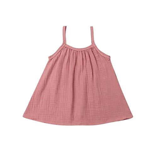KIMODO Kleinkind Baby Mädchen ärmellose Geraffte Einfarbig Kleid Sommer Urlaub A-Linie Strandkleid Freizeitkleidung