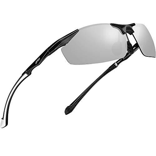 ATTCL偏振紫外线防护运动钓鱼驾驶太阳镜男性铝镁金属框架超轻8585银