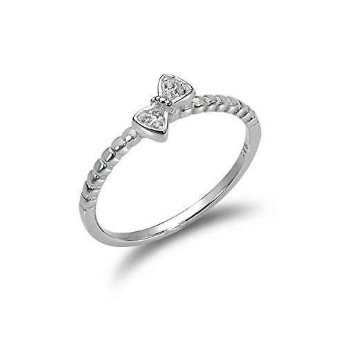 Sterling Silver 1mm Ring with CZ Crystal Bow - UK Size - V (J - V Available)