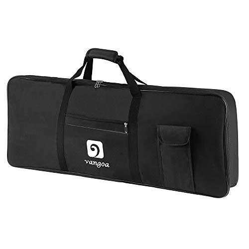 Vangoa 61 Key Keyboard Case Gig Bag Electric Piano Padded Case Bag for 61 Key Durable Waterproof Black