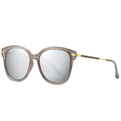 Faus Koco Europäische und Box Polarisierte Sonnenbrille für Damen, modisch, trendig, UV400-Schutz, eingelegte Kunststoff-Diamanten (Farbe: Silber)