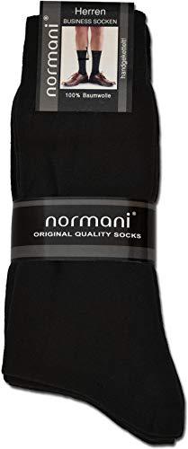 normani 20 Paar Herren Socken aus Reiner Baumwolle - klimaregulierend und atmungsaktiv Farbe Schwarz Größe 39-42