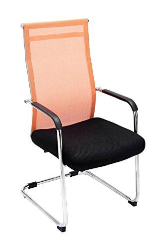 CLP Freischwinger Brenda mit Armlehne und Netzbezug I Bürostuhl mit Bodenschonern I erhältlich, Farbe:orange